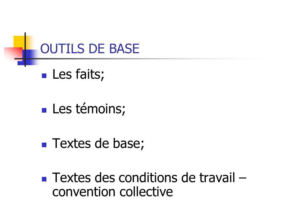 OUTILS DE BASE Les faits; Les témoins; Textes de base; Textes des conditions de travail – convention collective.