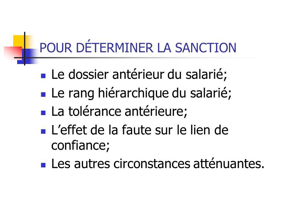 POUR DÉTERMINER LA SANCTION