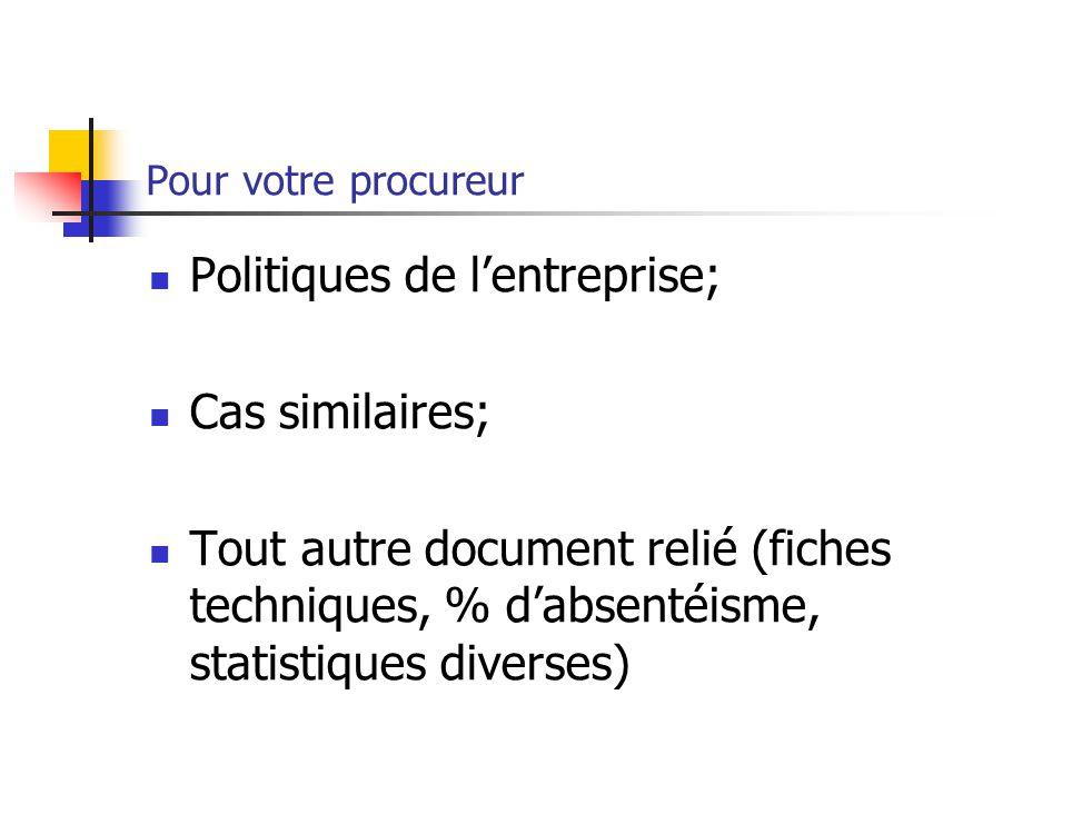 Politiques de l'entreprise; Cas similaires;