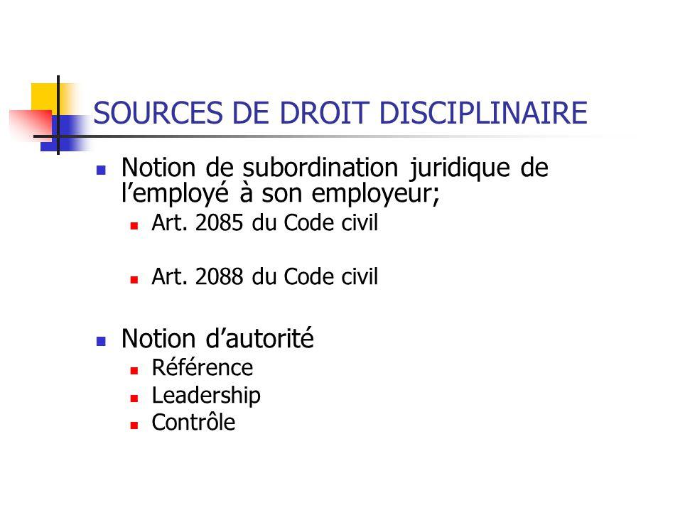 SOURCES DE DROIT DISCIPLINAIRE