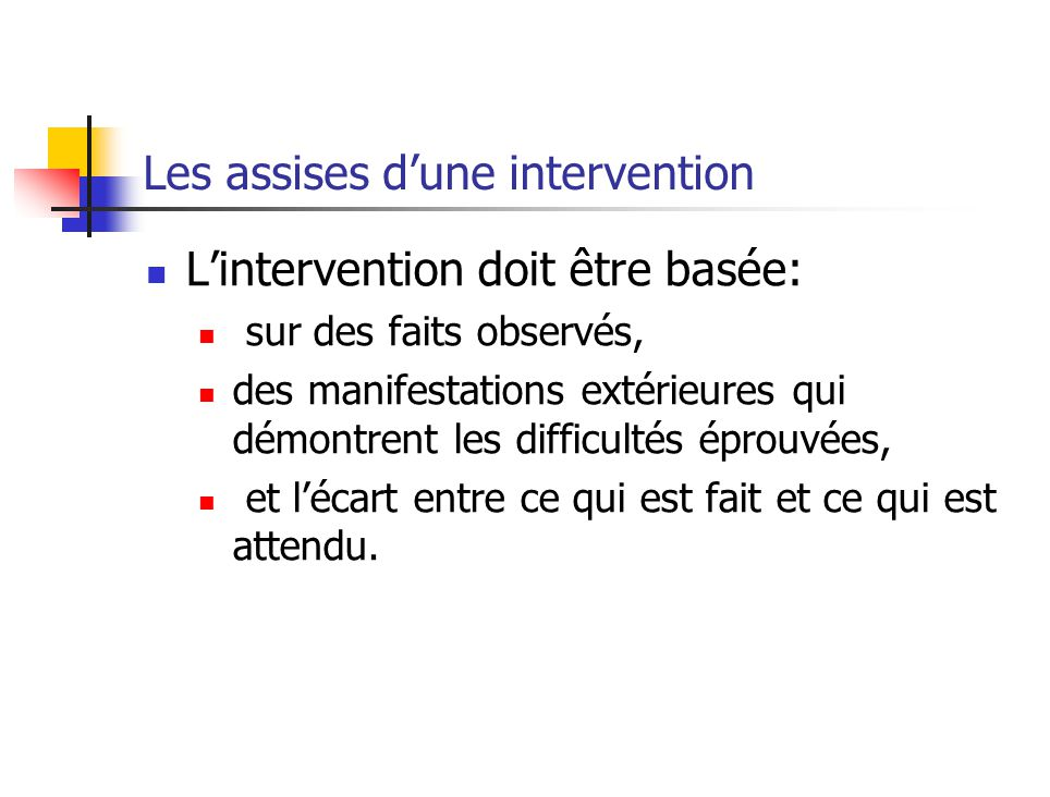 Les assises d'une intervention