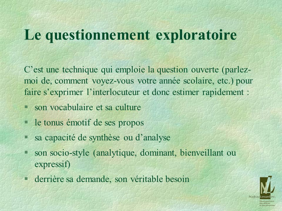 Le questionnement exploratoire
