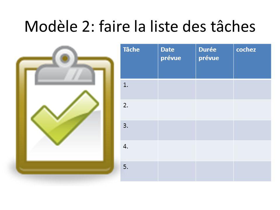 Modèle 2: faire la liste des tâches