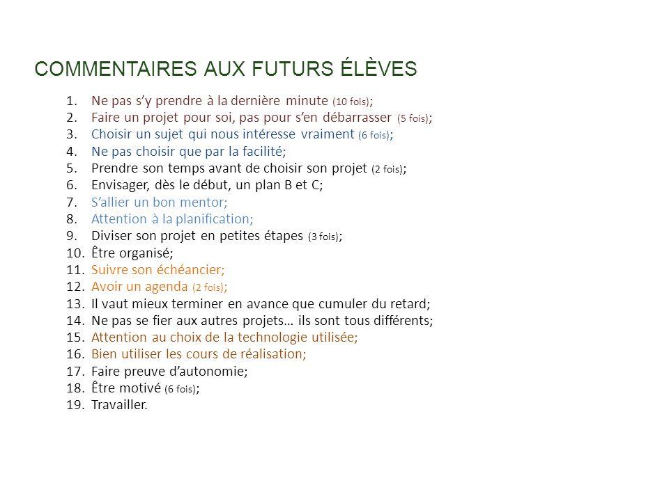 COMMENTAIRES AUX FUTURS ÉLÈVES