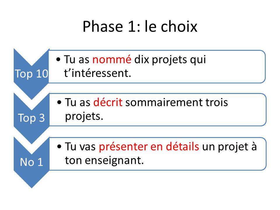 Phase 1: le choix Top 10 Tu as nommé dix projets qui t'intéressent.