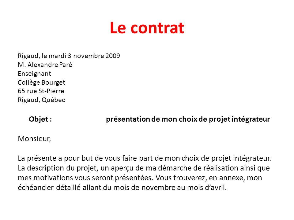 Le contrat Objet : présentation de mon choix de projet intégrateur