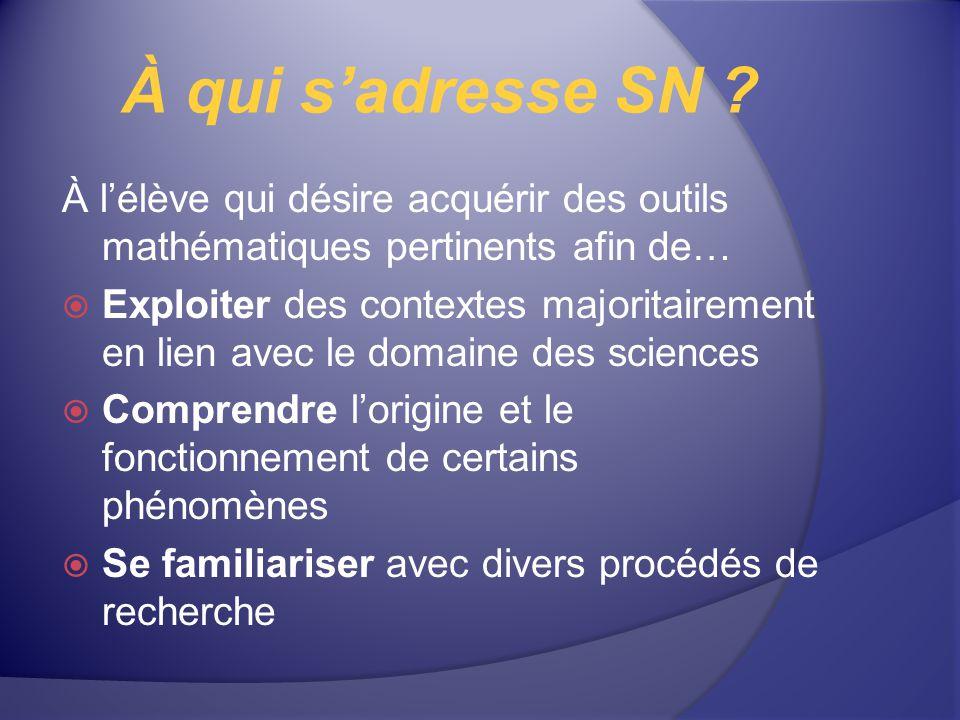 À qui s'adresse SN À l'élève qui désire acquérir des outils mathématiques pertinents afin de…