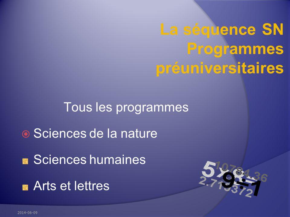 La séquence SN Programmes préuniversitaires