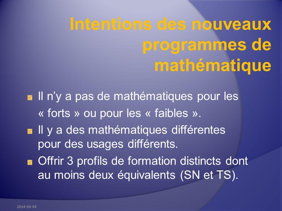 Intentions des nouveaux programmes de mathématique