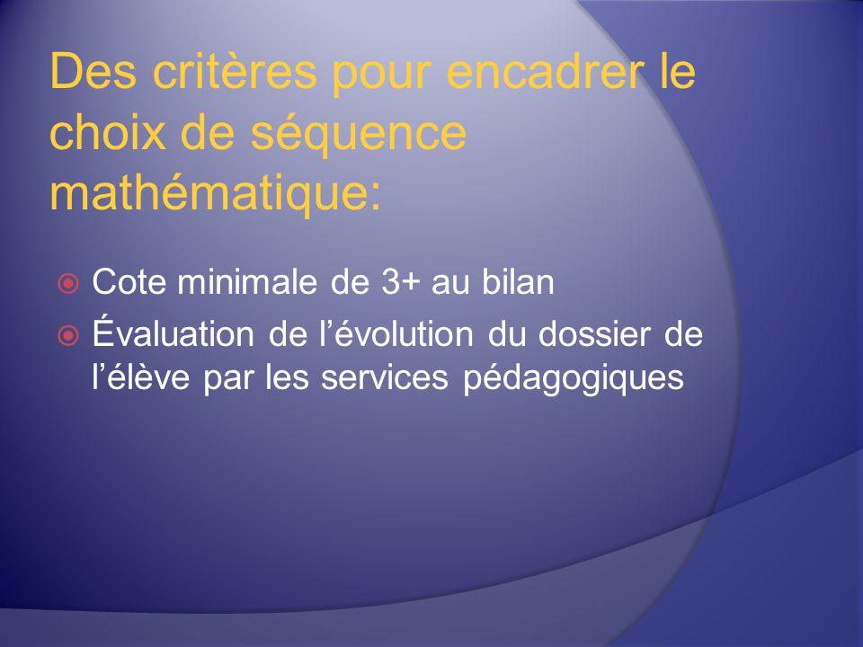 Des critères pour encadrer le choix de séquence mathématique:
