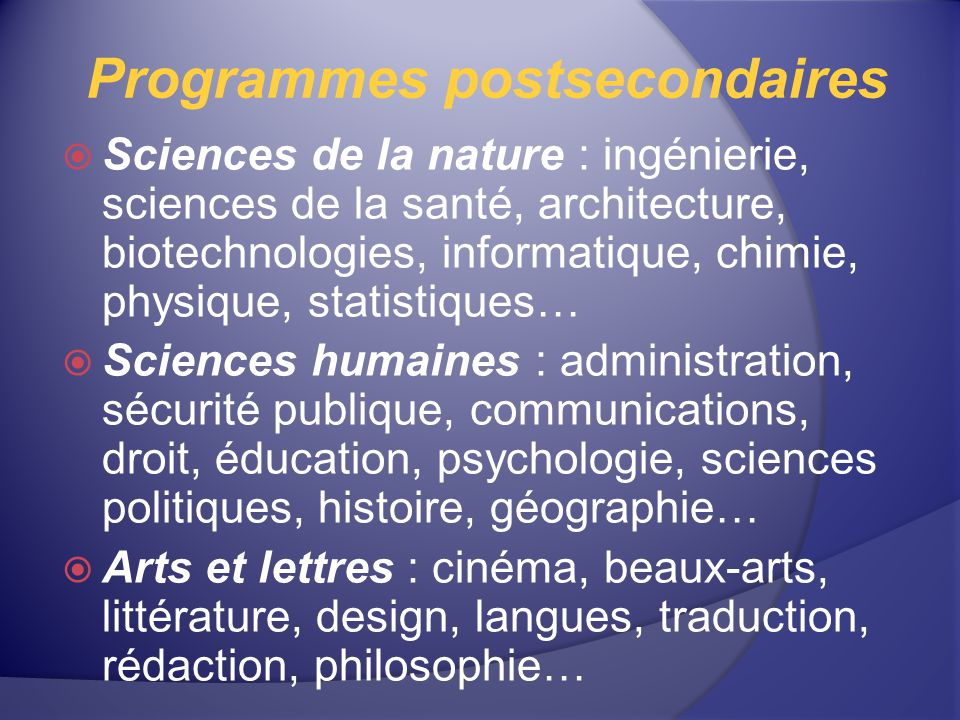 Programmes postsecondaires