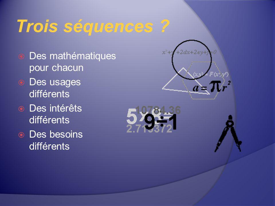 Trois séquences Des mathématiques pour chacun Des usages différents