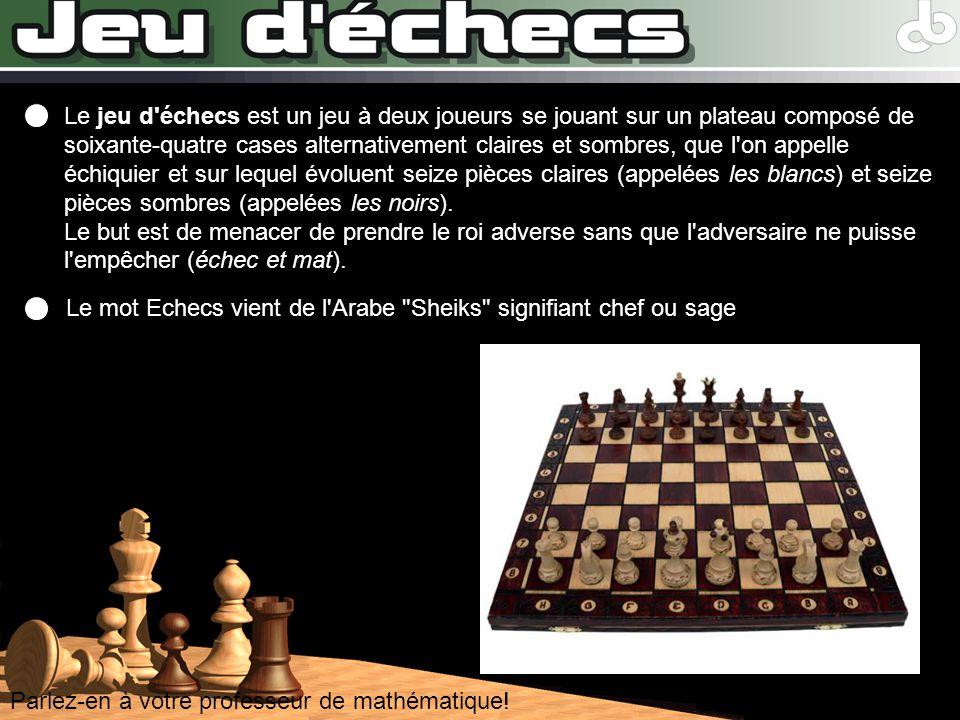 Le jeu d échecs est un jeu à deux joueurs se jouant sur un plateau composé de soixante-quatre cases alternativement claires et sombres, que l on appelle échiquier et sur lequel évoluent seize pièces claires (appelées les blancs) et seize pièces sombres (appelées les noirs). Le but est de menacer de prendre le roi adverse sans que l adversaire ne puisse l empêcher (échec et mat).