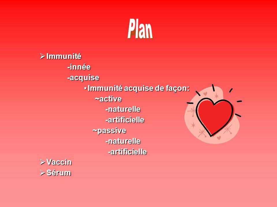 Plan Immunité -innée -acquise Immunité acquise de façon: ~active
