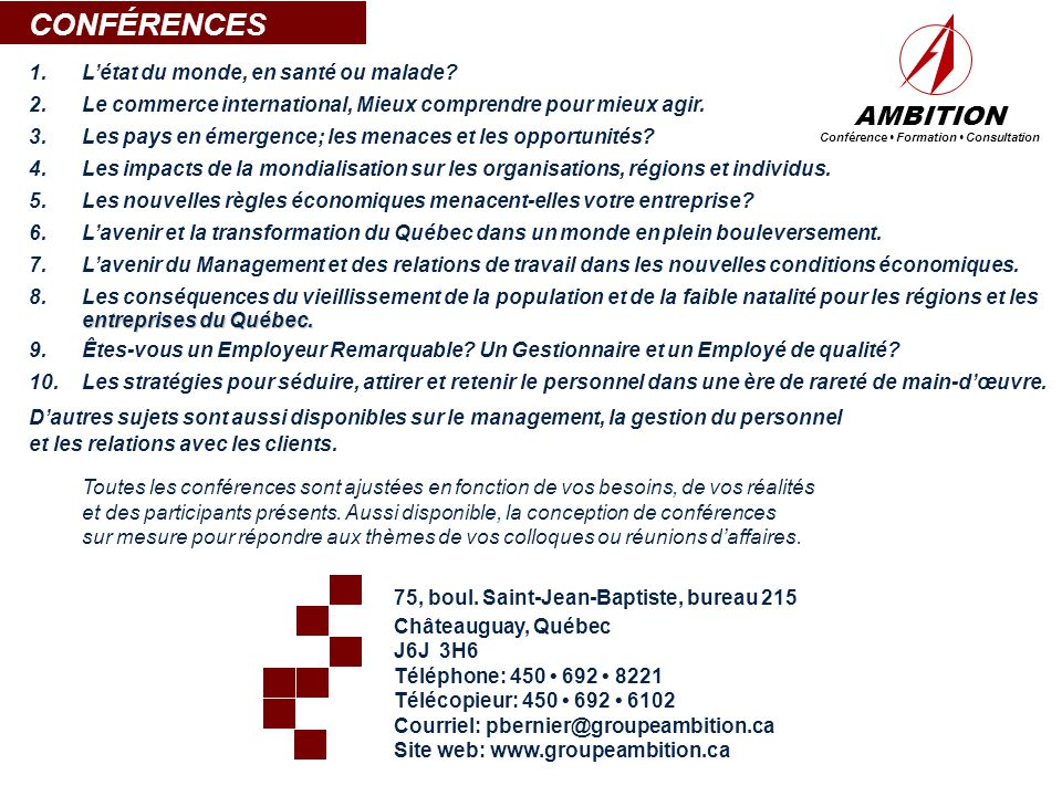 Conférence • Formation • Consultation