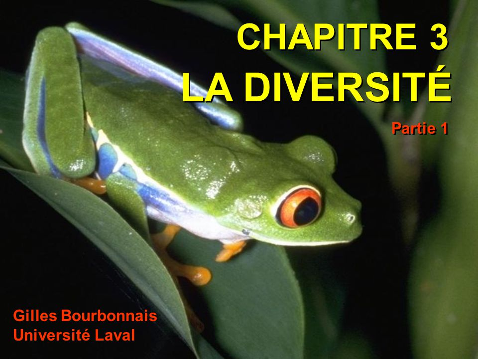 CHAPITRE 3 LA DIVERSITÉ Partie 1 Gilles Bourbonnais Université Laval