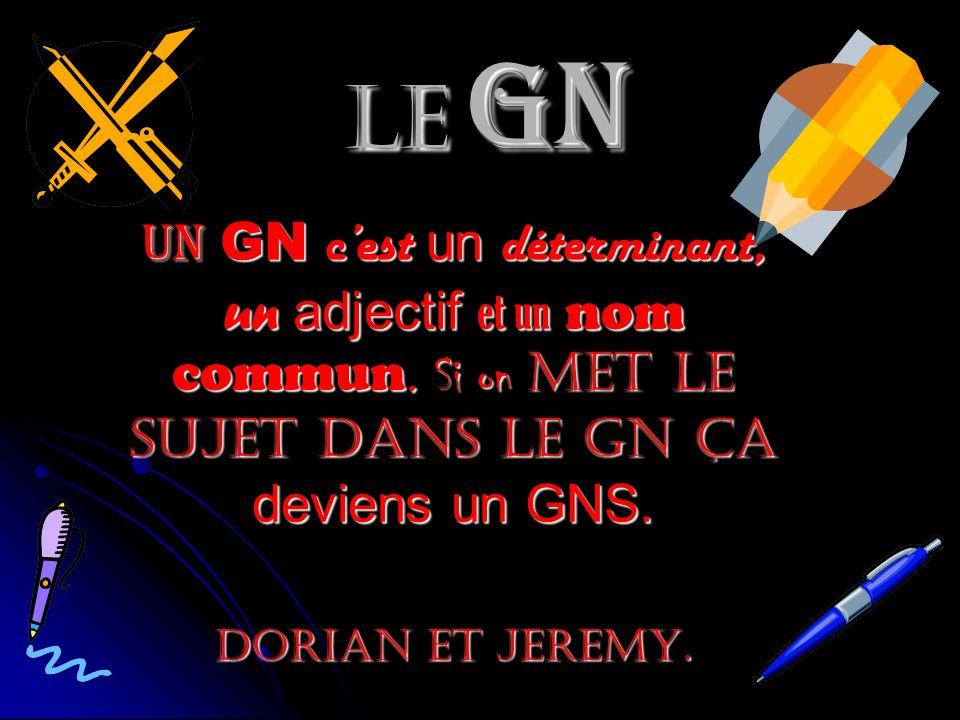 Le GN Un GN c'est un déterminant, un adjectif et un nom commun. Si on met le sujet dans le GN ça deviens un GNS.