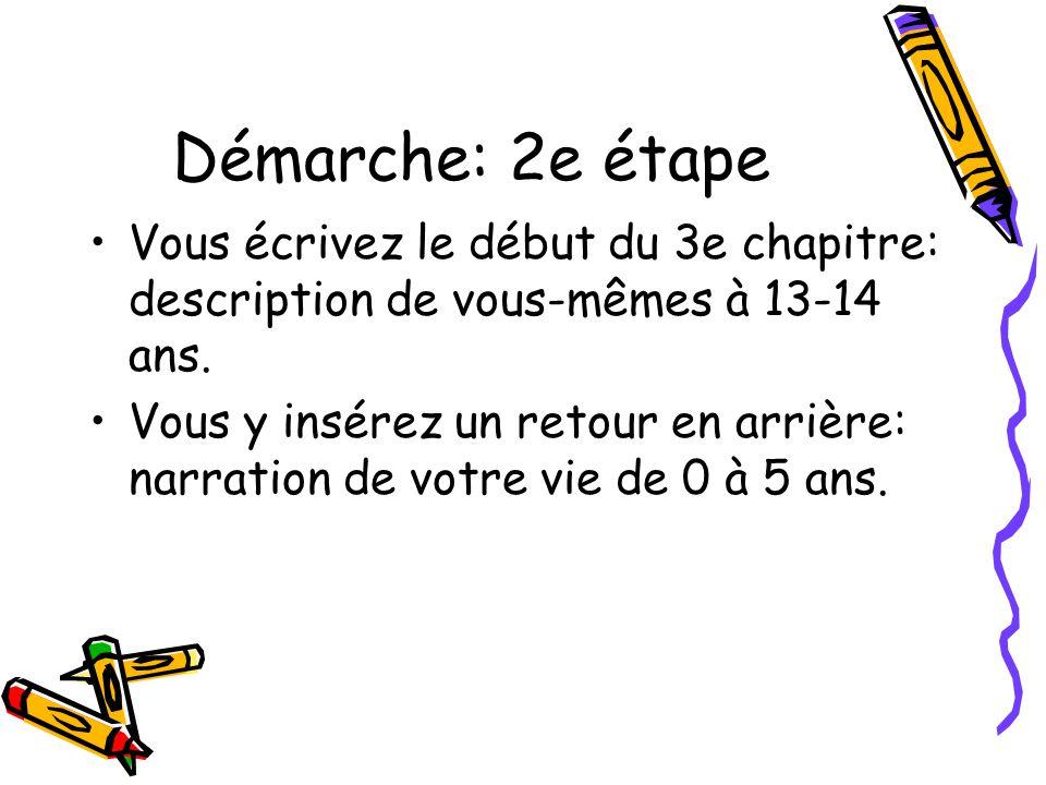 Démarche: 2e étape Vous écrivez le début du 3e chapitre: description de vous-mêmes à 13-14 ans.