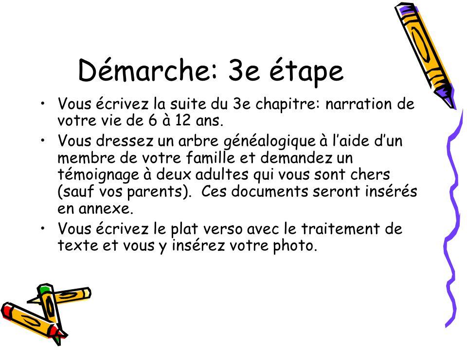 Démarche: 3e étape Vous écrivez la suite du 3e chapitre: narration de votre vie de 6 à 12 ans.
