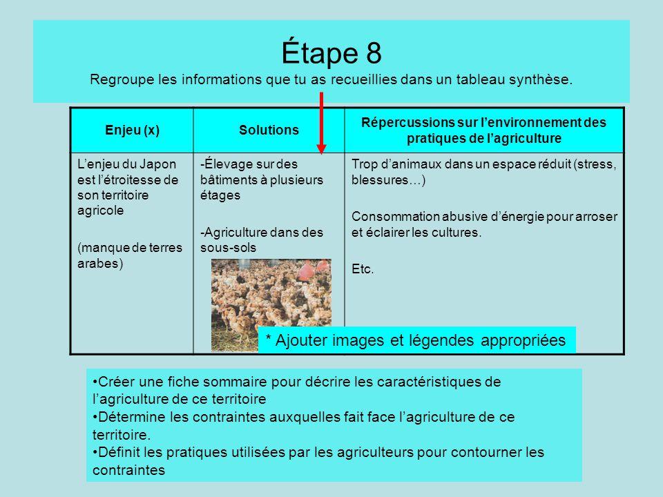 Répercussions sur l'environnement des pratiques de l'agriculture