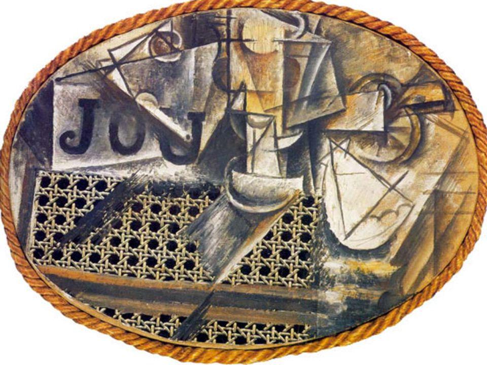 Avec sa révolutionnaire Nature morte à la chaise cannée, Picasso introduit dans le tableau un bout de toile cirée pour le cannage et une corde pour matérialiser l'ovale du cadre.
