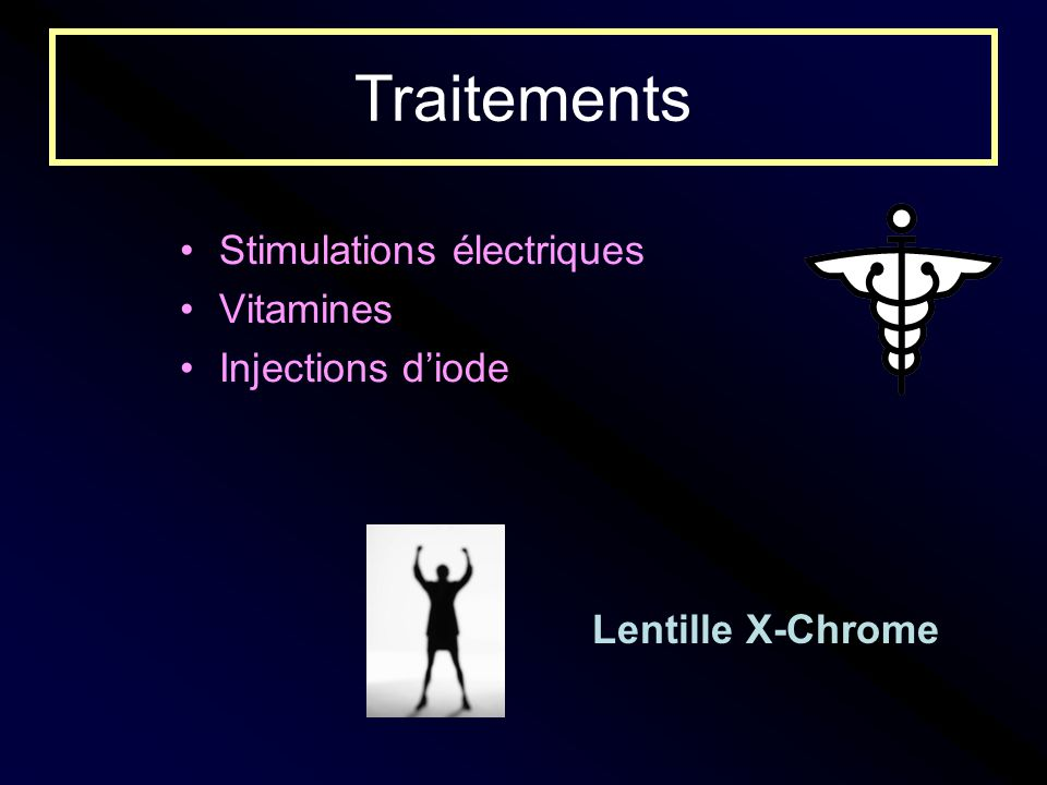 Traitements Stimulations électriques Vitamines Injections d'iode
