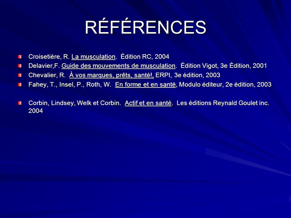 RÉFÉRENCES Croisetière, R. La musculation. Édition RC, 2004