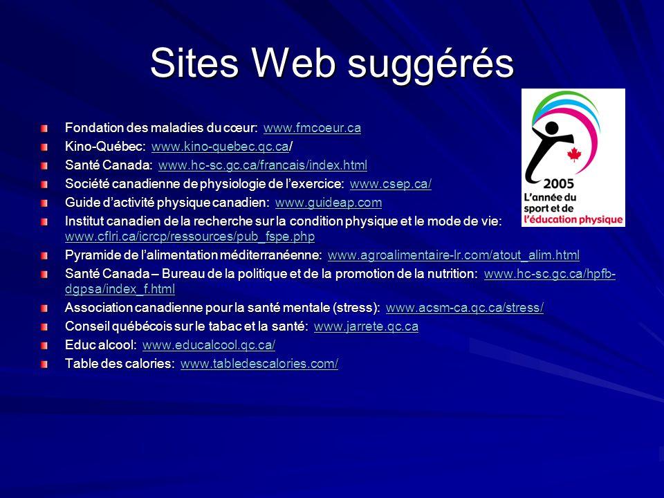 Sites Web suggérés Fondation des maladies du cœur: www.fmcoeur.ca