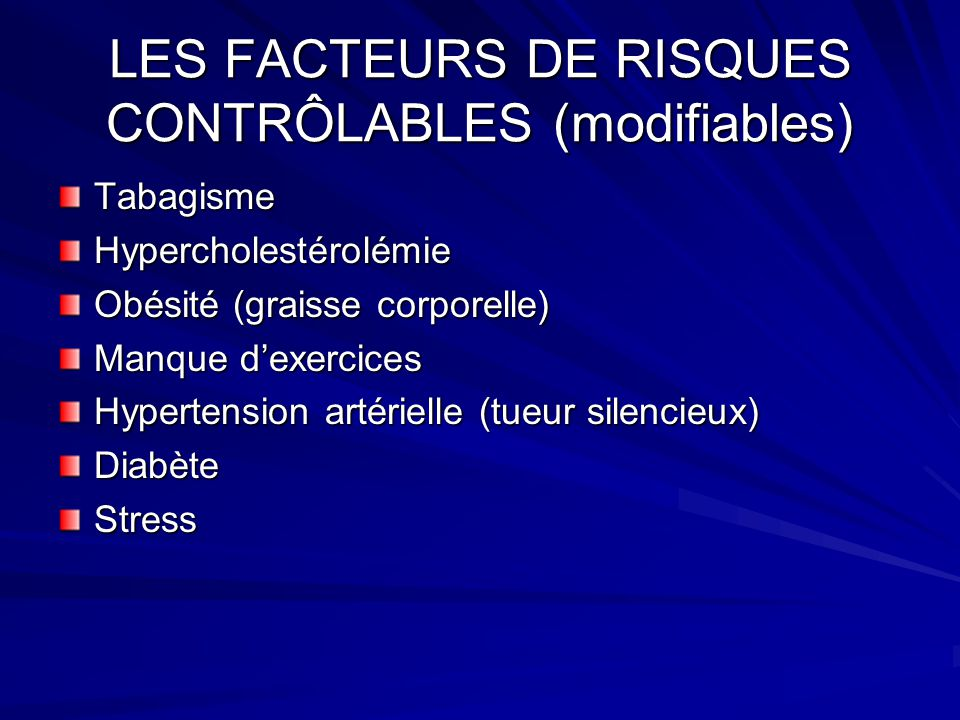 LES FACTEURS DE RISQUES CONTRÔLABLES (modifiables)