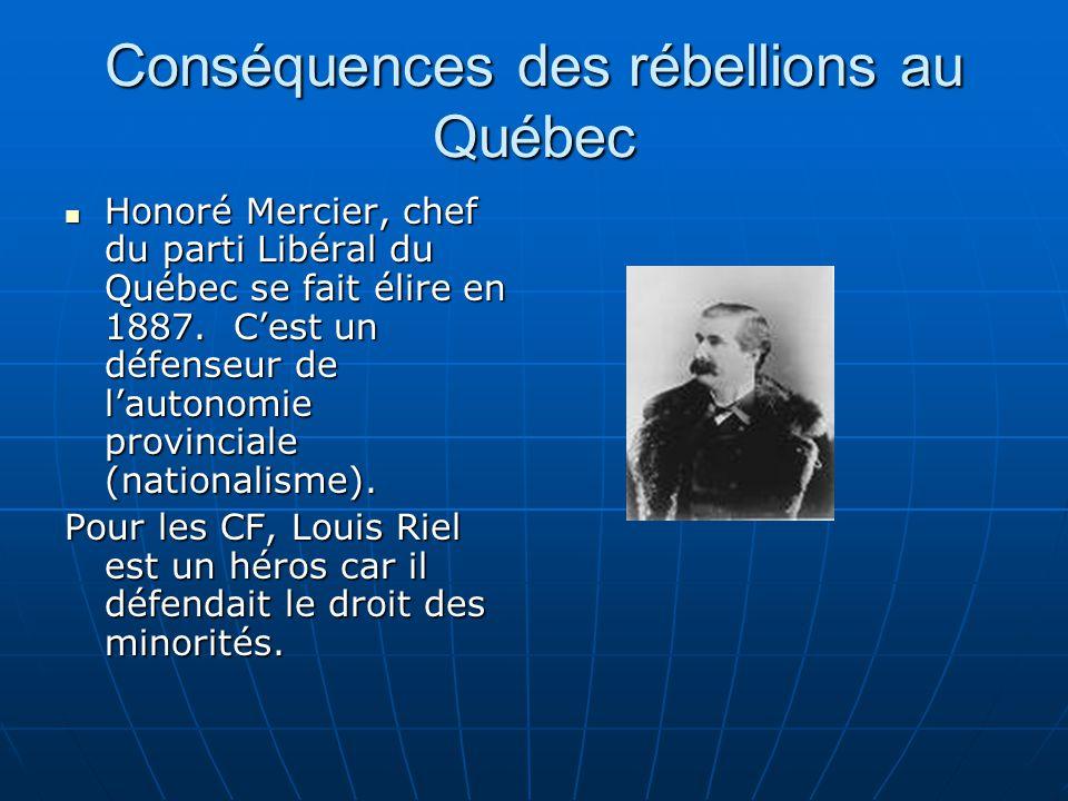 Conséquences des rébellions au Québec