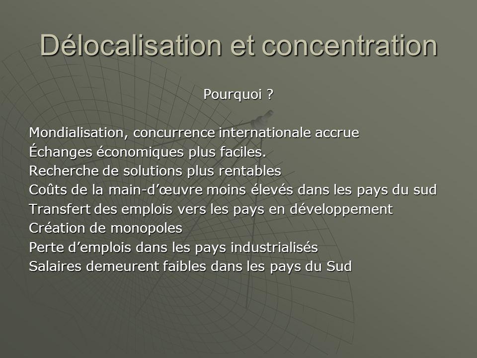 Délocalisation et concentration