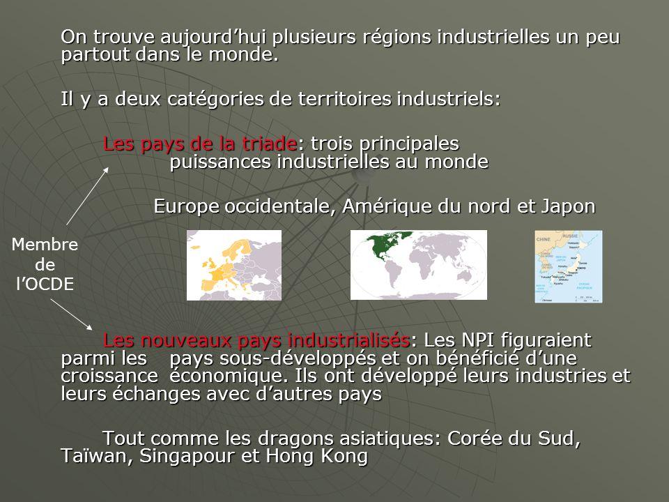 Il y a deux catégories de territoires industriels: