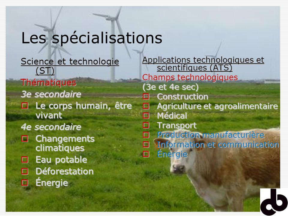 Les spécialisations Science et technologie (ST) Thématiques