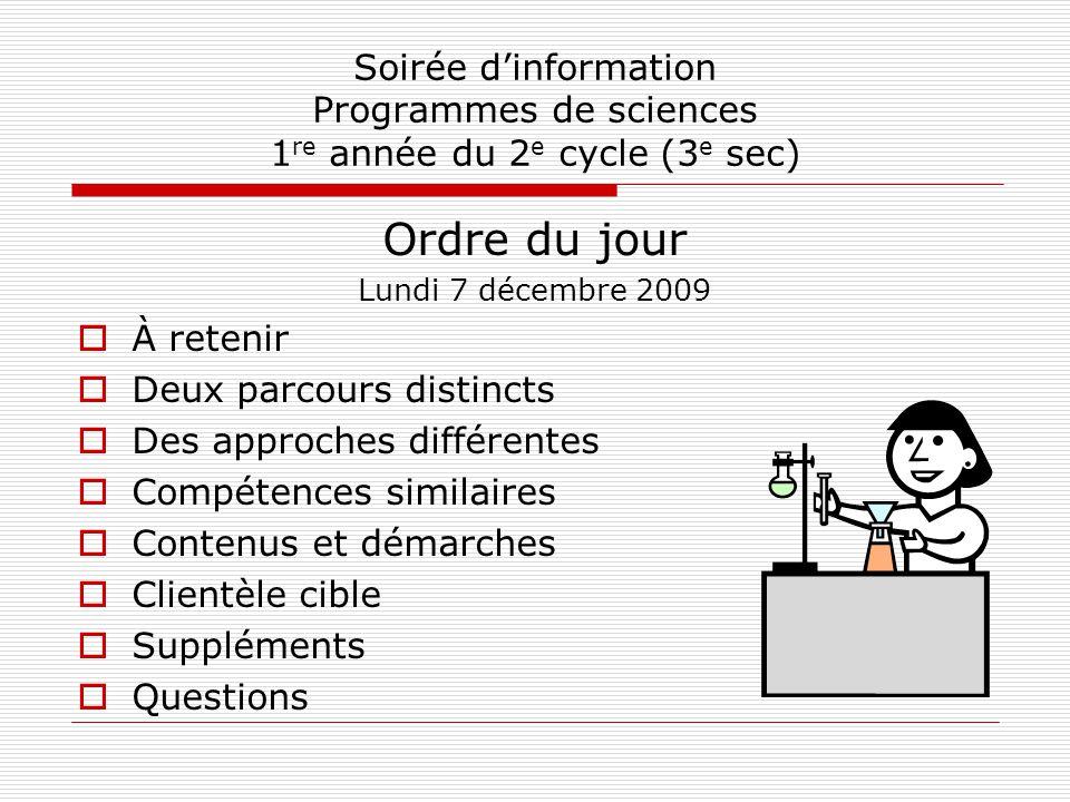 Soirée d'information Programmes de sciences 1re année du 2e cycle (3e sec)