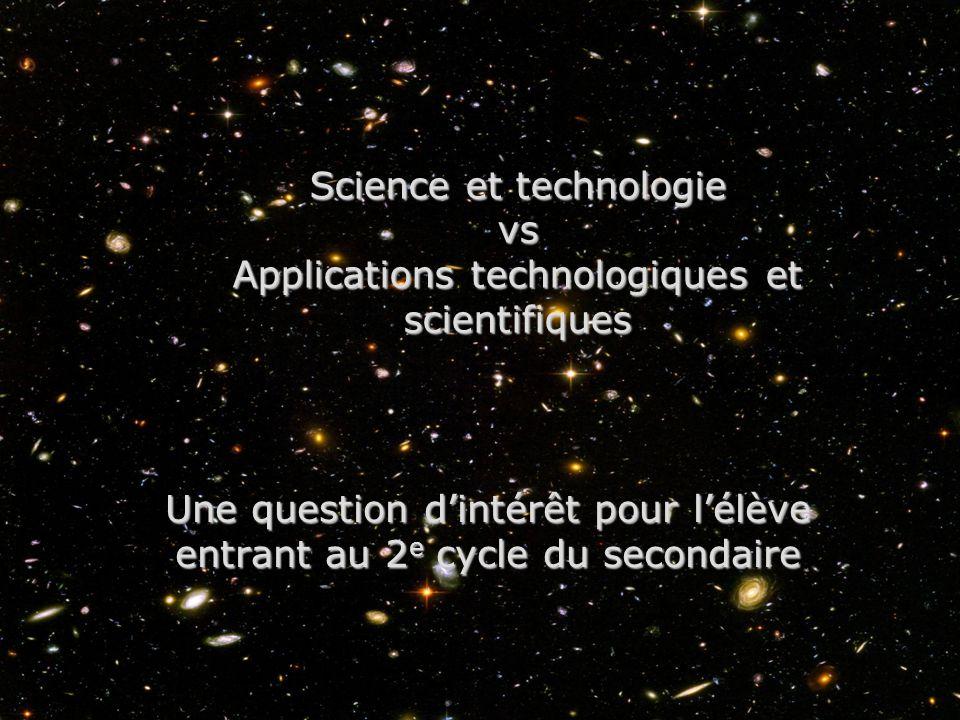 Science et technologie vs Applications technologiques et scientifiques