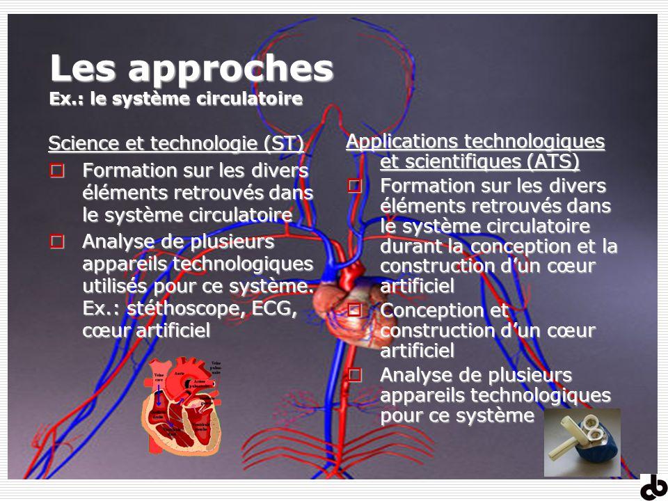 Les approches Ex.: le système circulatoire