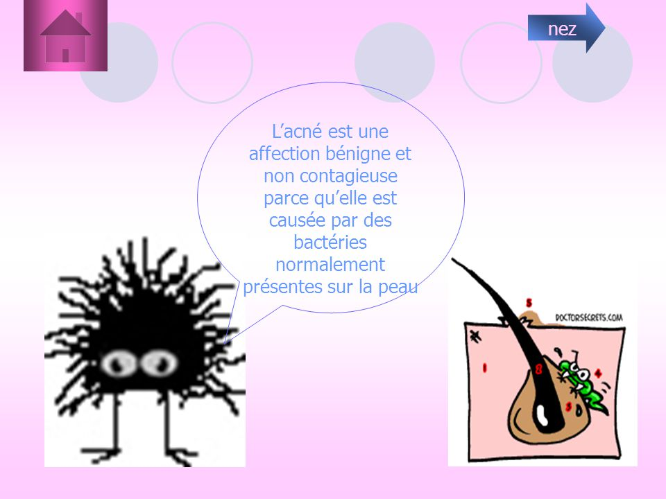 nez L'acné est une affection bénigne et non contagieuse parce qu'elle est causée par des bactéries normalement présentes sur la peau.