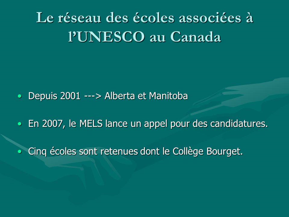 Le réseau des écoles associées à l'UNESCO au Canada