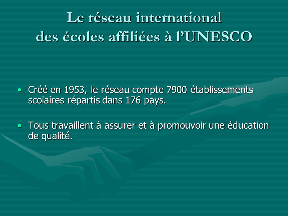 Le réseau international des écoles affiliées à l'UNESCO