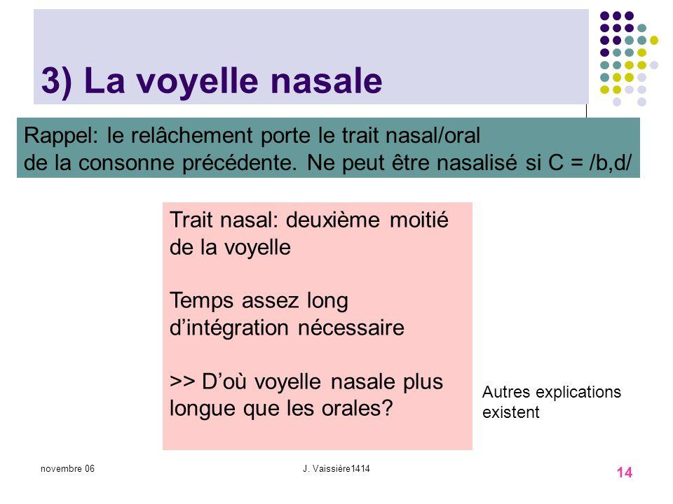 3) La voyelle nasale Rappel: le relâchement porte le trait nasal/oral