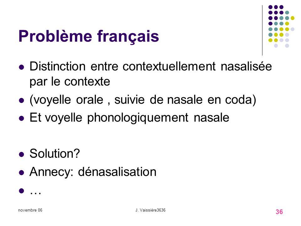 Problème français Distinction entre contextuellement nasalisée par le contexte. (voyelle orale , suivie de nasale en coda)
