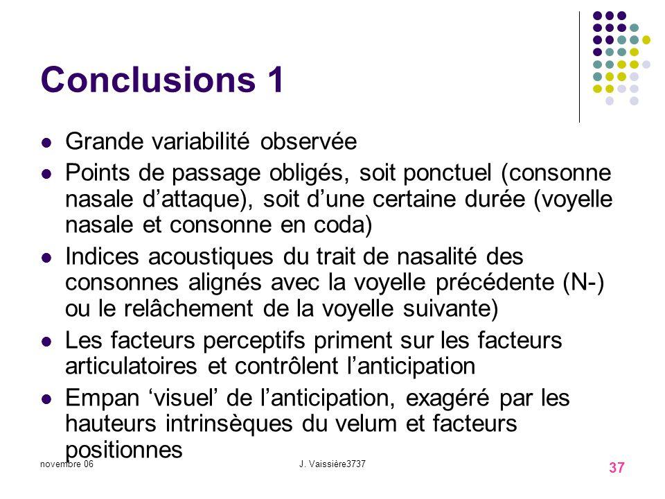 Conclusions 1 Grande variabilité observée