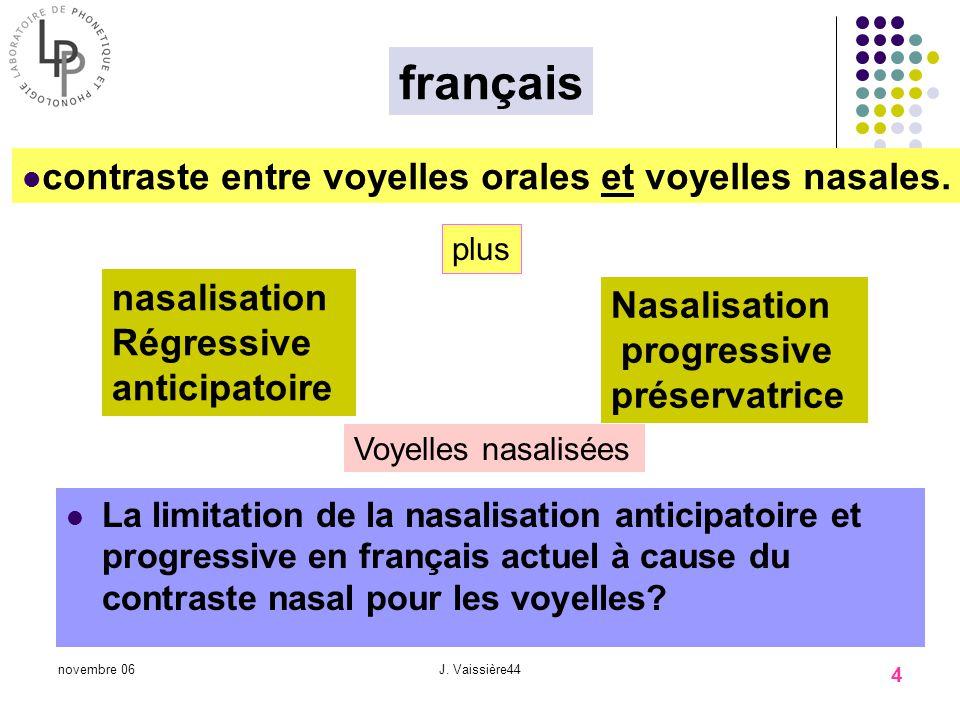français contraste entre voyelles orales et voyelles nasales.