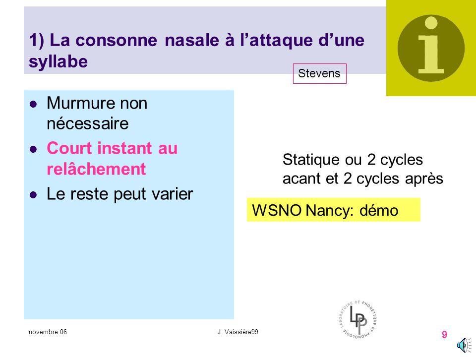1) La consonne nasale à l'attaque d'une syllabe