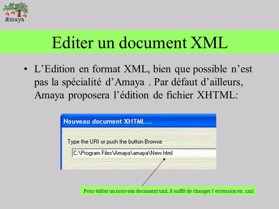 Editer un document XML