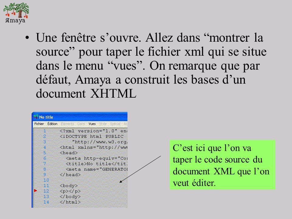 Une fenêtre s'ouvre. Allez dans montrer la source pour taper le fichier xml qui se situe dans le menu vues . On remarque que par défaut, Amaya a construit les bases d'un document XHTML