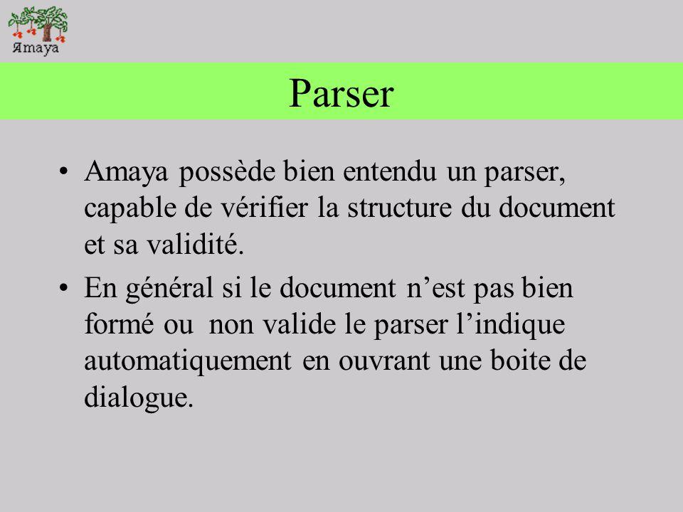 Parser Amaya possède bien entendu un parser, capable de vérifier la structure du document et sa validité.