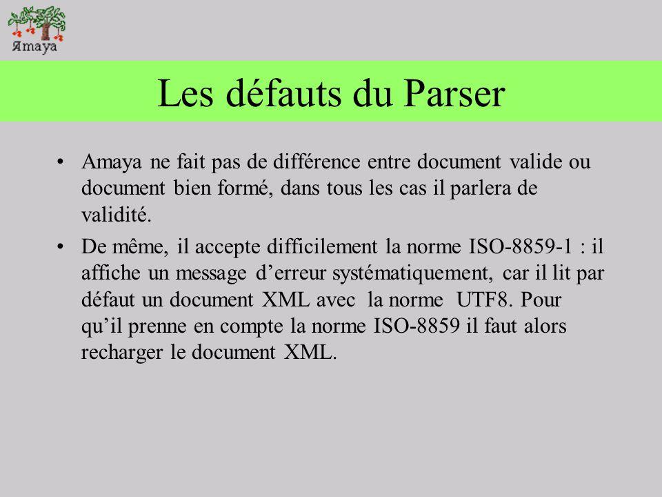 Les défauts du Parser Amaya ne fait pas de différence entre document valide ou document bien formé, dans tous les cas il parlera de validité.