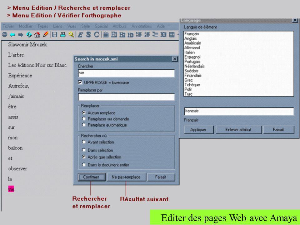 Editer des pages Web avec Amaya