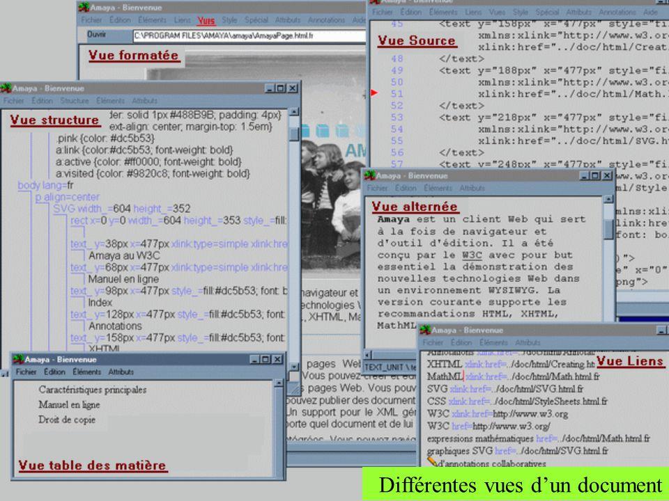 Différentes vues d'un document